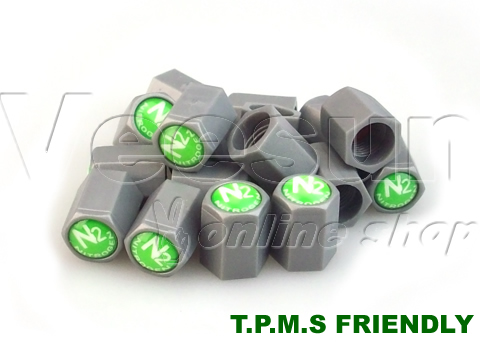 Grey TPMS N2 Tire Valve Caps [bag of 500]