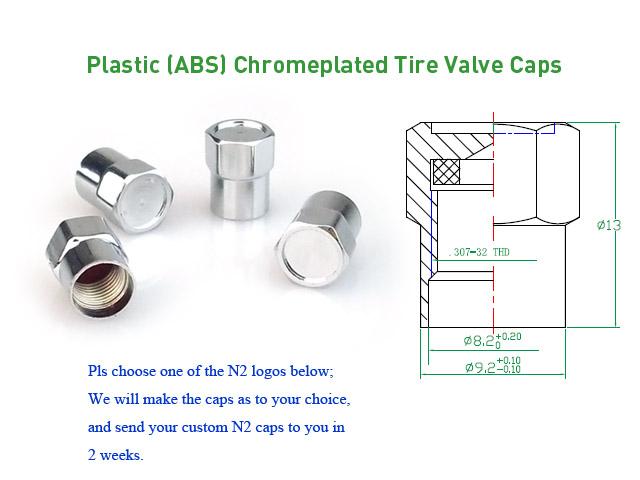Plastic Chromeplated N2 Tire Valve Caps [bag of 1000]