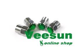 Bulk Chrome/Plastic Cap w/O ring Green Dome 500/pk